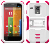 PINK WHITE TRI-SHIELD RUGGED SOFT SKIN HARD CASE COVER STAND FOR MOTOROLA MOTO-G