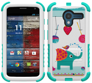 CANDY ELEPHANT TRI-SHIELD DESIGN SKIN HARD CASE COVER STAND FOR MOTOROLA MOTO-X