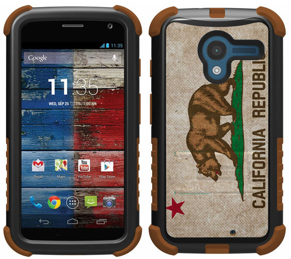 CALIFORNIA REPUBLIC BEAR FLAG TRI-SHIELD DESIGN CASE STAND FOR MOTOROLA MOTO-X