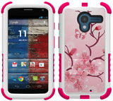 CHERRY BLOSSOM FLOWER TRI-SHIELD DESIGN SKIN CASE STAND FOR MOTOROLA MOTO-X
