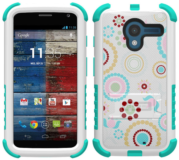 TURQUOISE PINK CIRCLE COLLAGE TRI-SHIELD DESIGN CASE STAND FOR MOTOROLA MOTO-X