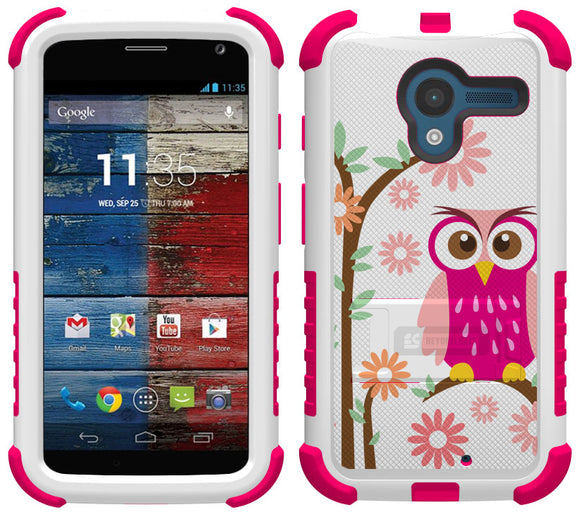 PINK OWL DAISY TRI-SHIELD DESIGN SKIN HARD CASE COVER STAND FOR MOTOROLA MOTO-X