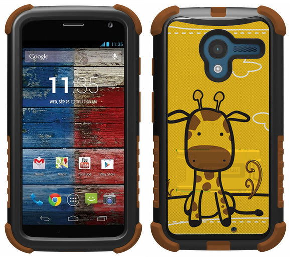 CUTE BABY GIRAFFE TRI-SHIELD DESIGN SKIN CASE COVER STAND FOR MOTOROLA MOTO-X