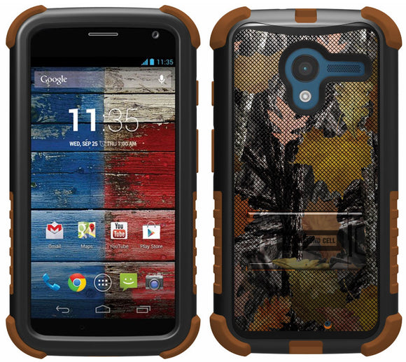 HUNTER LEAF CAMO TRI-SHIELD DESIGN SKIN CASE COVER STAND FOR MOTOROLA MOTO-X