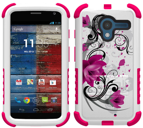 PINK LOTUS FLOWER TRI-SHIELD DESIGN SKIN CASE COVER STAND FOR MOTOROLA MOTO-X