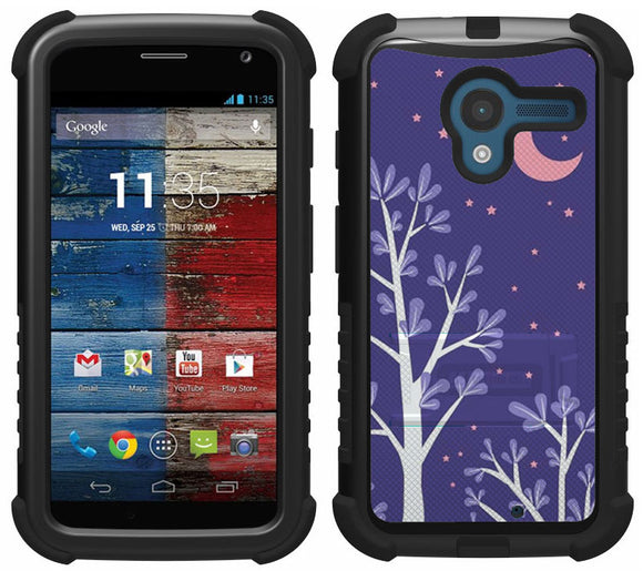 PURPLE NIGHT STAR MOON TRI-SHIELD DESIGN CASE COVER STAND FOR MOTOROLA MOTO-X