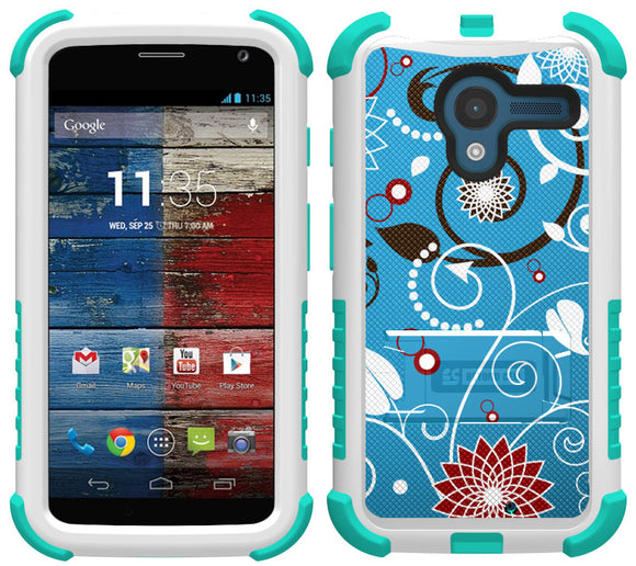 BLUE FLOWER SWIRL TRI-SHIELD DESIGN SKIN CASE COVER STAND FOR MOTOROLA MOTO-X