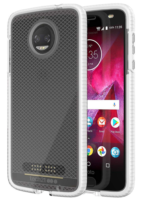 Tech21 White Clear EVO Check Anti-Shock Case Cover for Motorola Moto Z2 Force