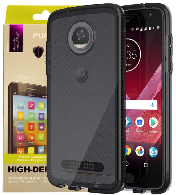 Tech21 Black Smoke EVO Check Case + PureGear Tempered Glass for Moto Z2 Play