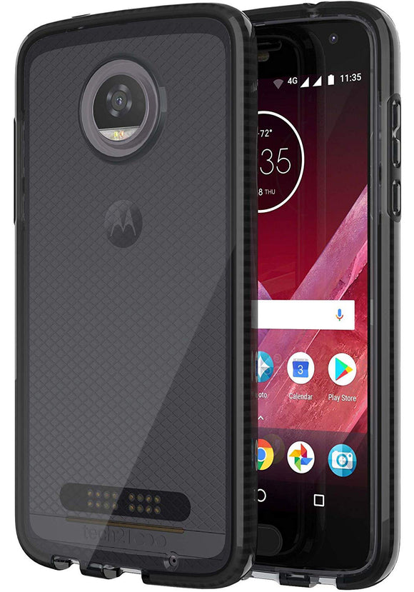 Tech21 Black Smoke EVO Check Anti-Shock Case TPU Cover for Motorola Moto Z2 Play