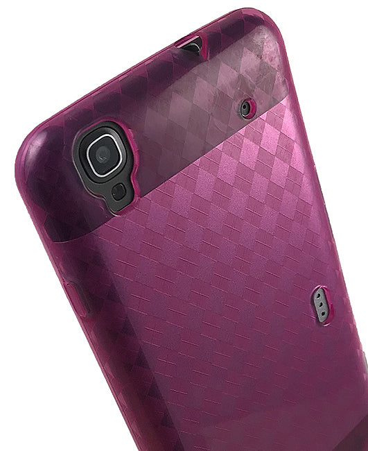 PINK PLAID TPU FLEXIBLE TPU SKIN CASE COVER FOR BOOST MOBILE ZTE MAX N9520
