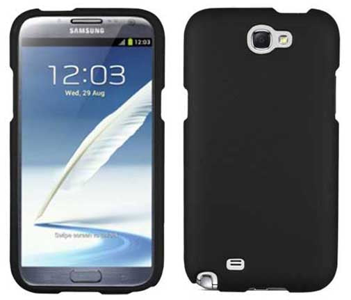 BLACK RUBBERIZED PROTEX HARD SHELL CASE COVER FOR SAMSUNG GALAXY NOTE 2 II