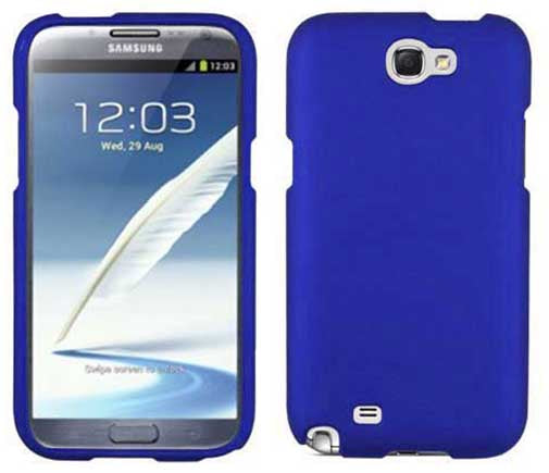 BLUE RUBBERIZED PROTEX HARD SHELL CASE COVER FOR SAMSUNG GALAXY NOTE 2 II