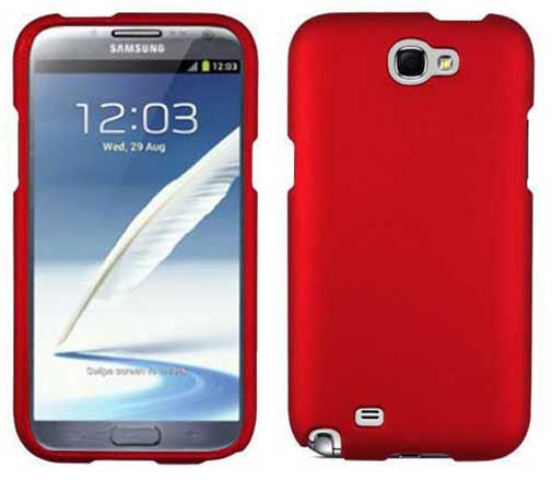 RED RUBBERIZED PROTEX HARD SHELL CASE COVER FOR SAMSUNG GALAXY NOTE 2 II