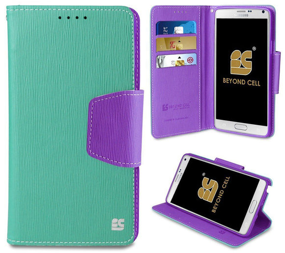 MINT PURPLE INFOLIO WALLET CREDIT CARD CASH CASE COVER FOR SAMSUNG GALAXY NOTE 4