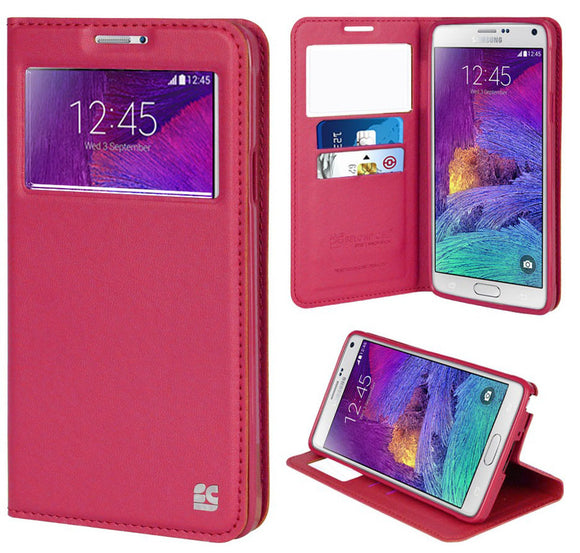 PINK INFOLIO WINDOW WALLET CREDIT ID CARD CASE STAND FOR SAMSUNG GALAXY NOTE 4