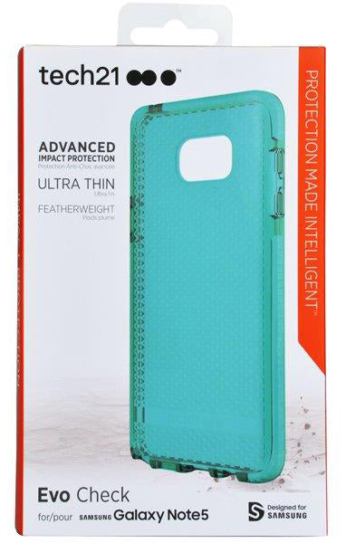 Tech21 AQUA MINT EVO CHECK ANTI-SHOCK CASE TPU COVER FOR SAMSUNG GALAXY NOTE 5
