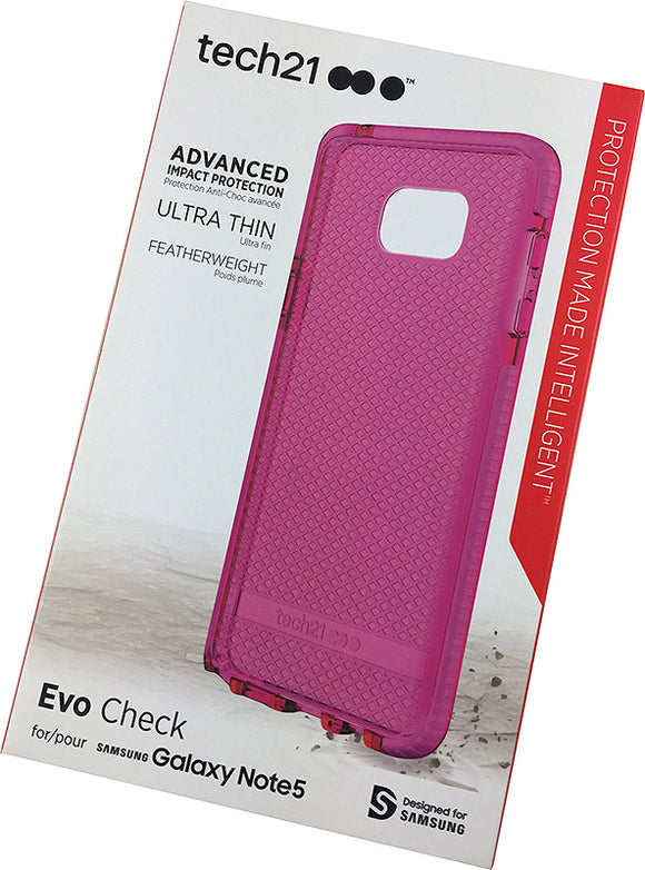 Tech21 PINK EVO CHECK ANTI-SHOCK CASE TPU COVER FOR SAMSUNG GALAXY NOTE 5