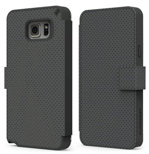 PUREGEAR BLACK FOLIO WALLET CASE CARD SLOT STAND FOR SAMSUNG GALAXY NOTE 5