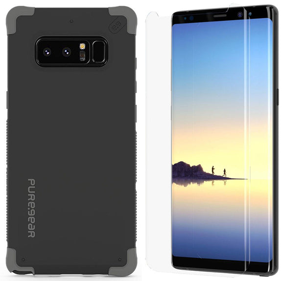 PureGear Matte Black Dualtek Case + Tech21 Screen Protector for Galaxy Note 8