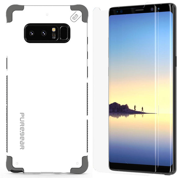 PureGear Arctic White Dualtek Case + Tech21 Screen Protector for Galaxy Note 8