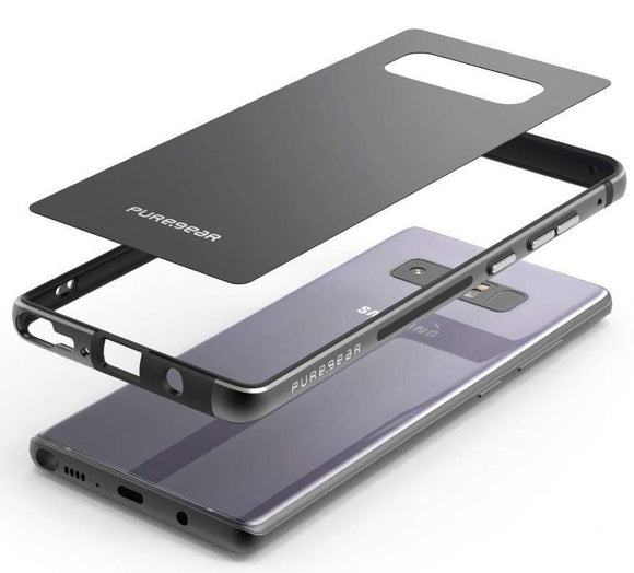 PureGear Black GlassBak 360 Case Aluminum Bumper Cover for Samsung Galaxy Note 8