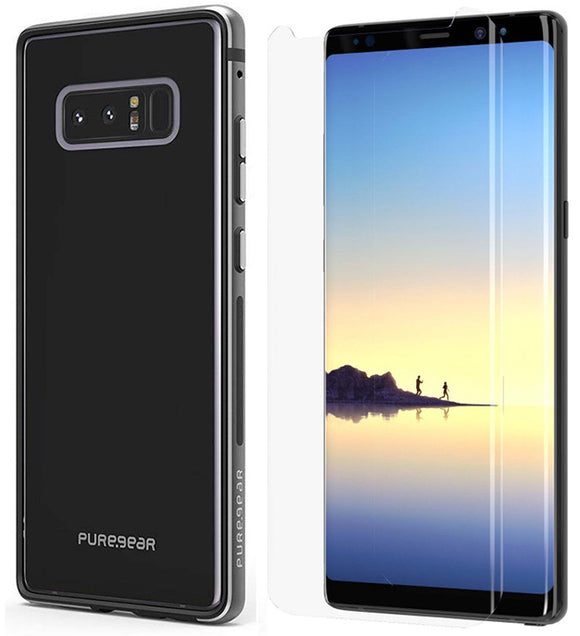 PureGear Black GlassBak 360 Case + Tech21 Screen Protector for Galaxy Note 8