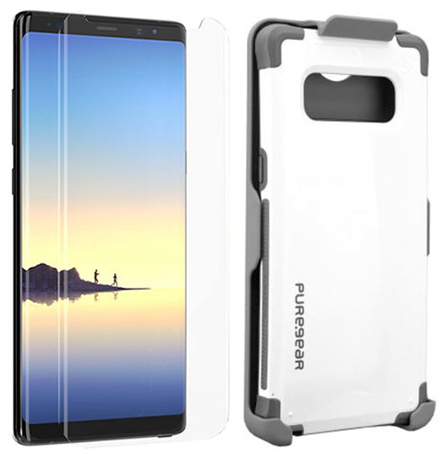 PureGear White Dualtek Case Belt Clip Tech21 Screen Protector for Galaxy Note 8