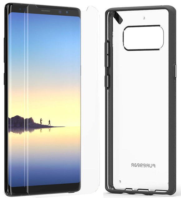 PureGear Black/Clear Slim Shell Case + Tech21 Screen Protector for Galaxy Note 8