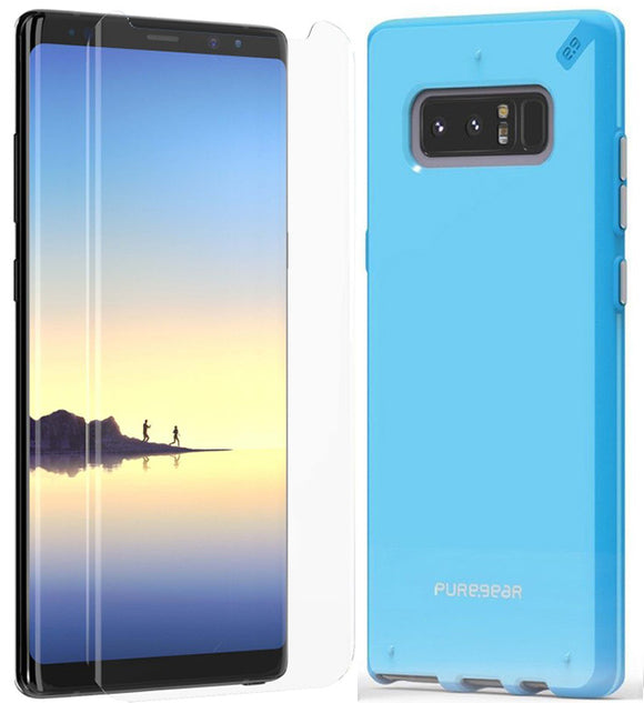 PureGear Sky Blue Slim Shell Case + Tech21 Screen Protector for Galaxy Note 8