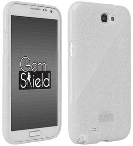 WHITE GEM SHIELD GLITTER TPU GRIP SKIN CASE COVER FOR SAMSUNG GALAXY NOTE-2 II