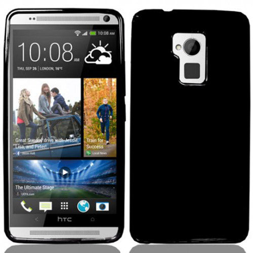 BLACK FLEX GEL TPU SOFT GRIP SKIN CASE COVER FOR HTC ONE MAX