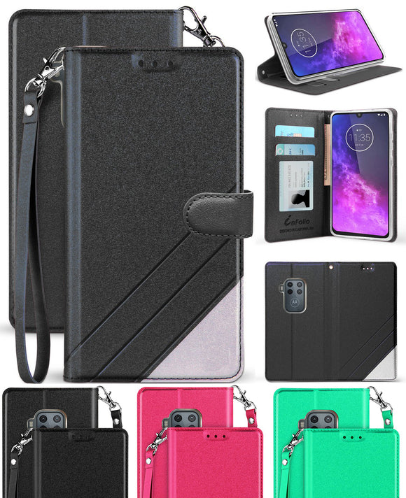 Infolio Wallet Case Credit Card Slot Cover and Wrist Strap for Motorola One Zoom