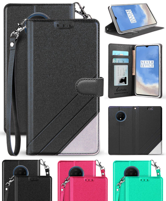 Infolio Wallet Case Credit Card Slot Cover Stand and Wrist Strap for OnePlus 7T