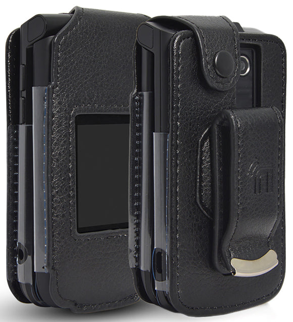 Black Vegan Leather Case with Belt Clip for Verizon Orbic Journey V Flip Phone