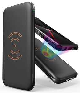BLACK QI WIRELESS CHARGER PAD 8000mAh PORTABLE BATTERY POWER BANK FOR CELL PHONE