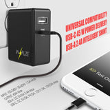 2-Port Travel AC Wall Charger 45W Quick Charge 3.0 USB Type-C for Cell Phone
