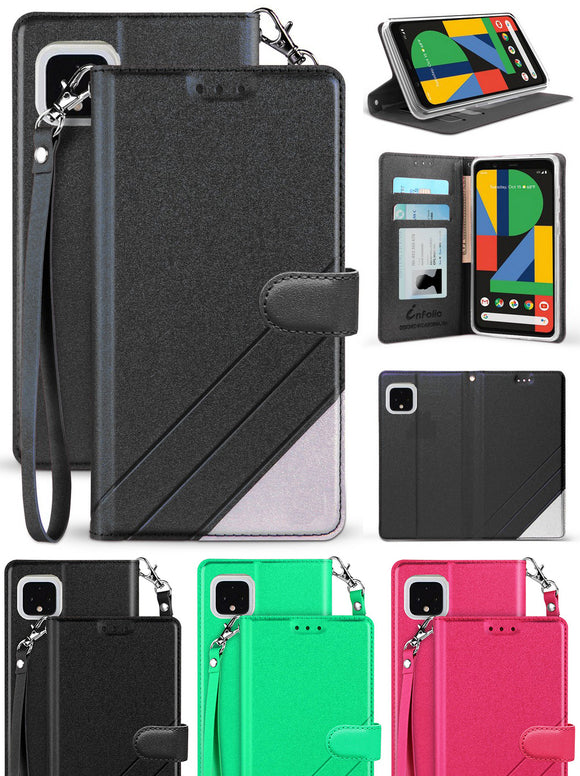Infolio Wallet Case Credit Card Slot Cover Lanyard Strap for Google Pixel 4