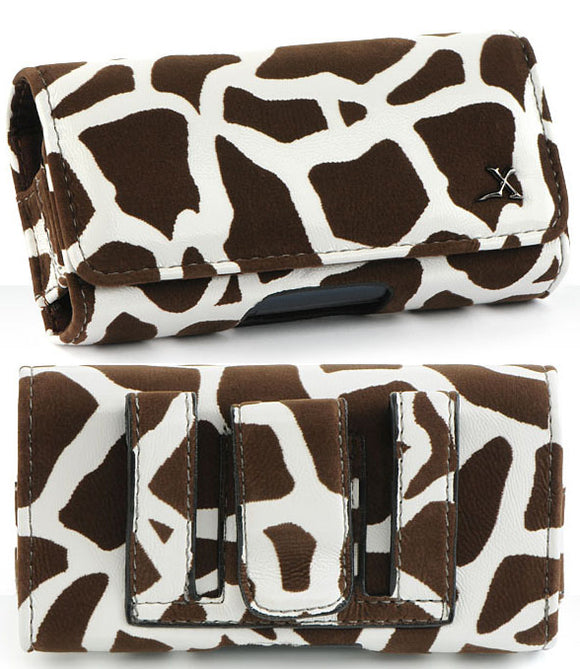 Brown Giraffe Case Pouch Belt Clip for Alcatel Go Flip, Smartflip Jitterbug Flip