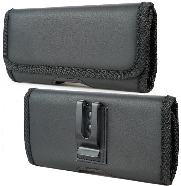 Black Vegan Leather Case Pouch Metal Belt Clip for Samsung Galaxy Z Fold 2 5G