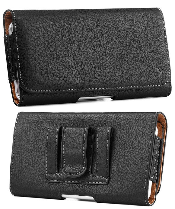 Black Leather Case Pouch Belt Loop Clip for Alcatel Go Flip 3, Smartflip, MyFlip