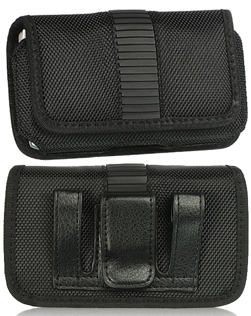 Black Nylon Case Pouch Belt Clip for Alcatel Go Flip, Smartflip, Jitterbug Flip