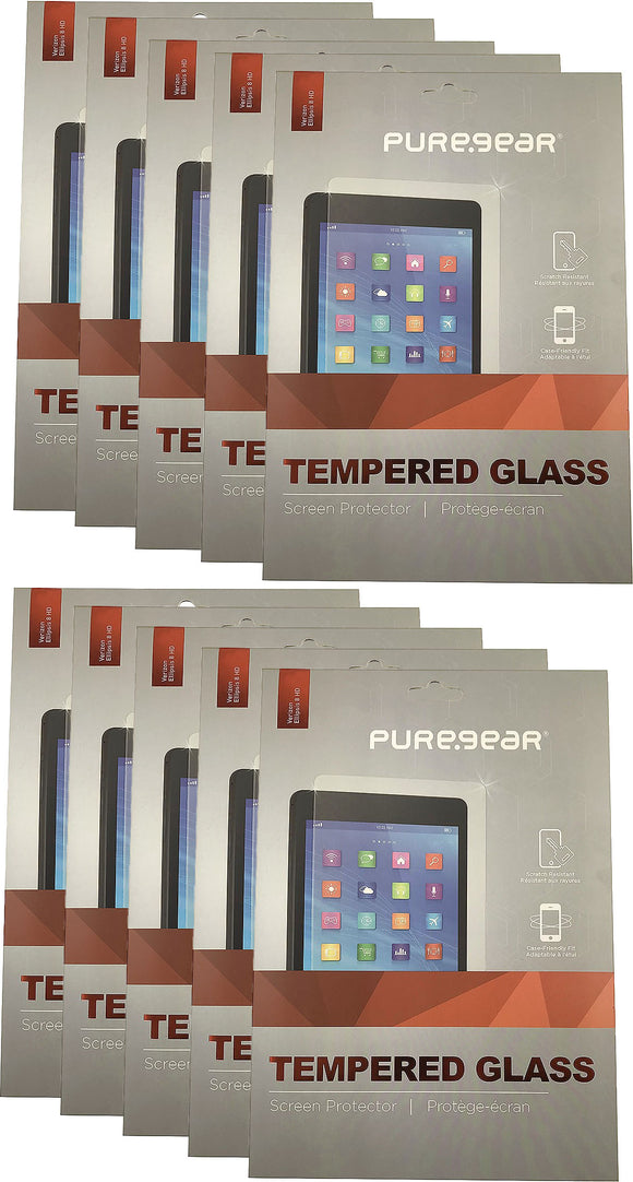 10x PureGear Tempered Glass 9H Screen Protector for Ellipsis 8 HD, GizmoTab
