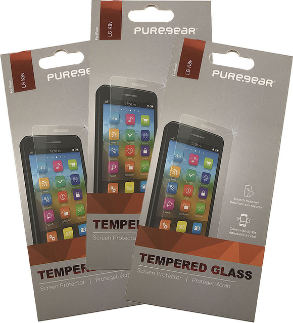3x PureGear Tempered Glass 9H Screen Protector Crack Saver for LG K8V VS500