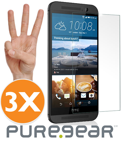 3-PACK PUREGEAR TEMPERED GLASS 9H SCREEN PROTECTOR CRACK SAVER FOR HTC ONE M9