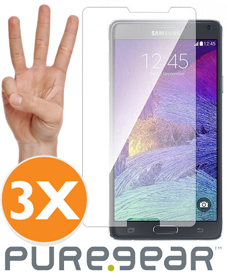 3-PACK PUREGEAR TEMPERED GLASS 9H SCREEN PROTECTOR FOR SAMSUNG GALAXY NOTE 4