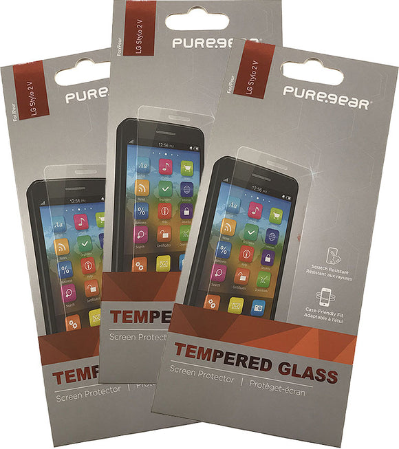 3x PureGear Tempered Glass 9H Screen Protector Crack Saver for LG Stylo 2