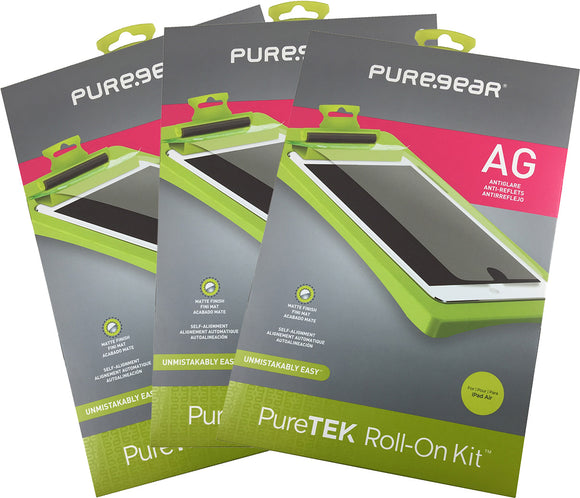 3x PureGear PureTek Screen Protector Kit for Apple iPad 2017, 2018, Air, Air-2