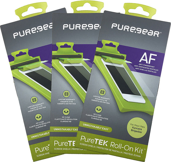 3x PureGear PureTek Roll-On Screen Protector Kit for Kyocera Brigadier E6782