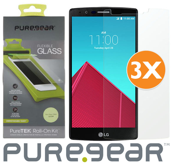 3-PACK PUREGEAR PURETEK FLEX GLASS SCREEN PROTECTOR with TRAY/ROLLER FOR LG G4
